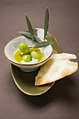 Green olives on twig in bowl of olive oil, crackers