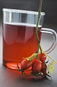Rose hip tea in glass cup, sprig of fresh rose hips