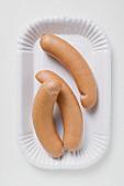Frankfurters on paper plate