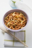 Macaroni with mince sauce