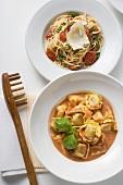 Spaghetti & cherry tomatoes, tortellini with tomato cream sauce