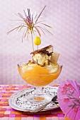 Fruity ice cream sundae with apricots & chocolate shavings