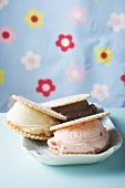 Strawberry, vanilla & chocolate ice cream sandwiches