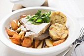 Roast pork with napkin dumpling and carrots