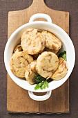 Napkin dumpling with parsley (overhead view)