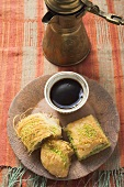 Kadayif and baklava (Turkish desserts) with mocha