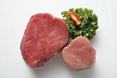 Beef fillet and pork fillet, garnished with parsley