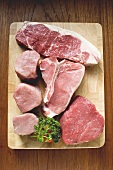 Various types of beef steak and pork fillets