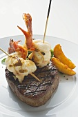 Surf and Turf (beef steak with prawns on cocktail sticks)