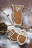 Gingerbread owl on branch,  gingerbread acorns beneath it