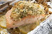 Salmon fillet baked in foil