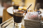 Glass of espresso in a restaurant