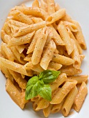 Penne with tomato cream sauce
