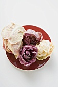 Different types of radicchio on red plate (overhead view)