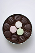 Assorted chocolates in round box (detail)