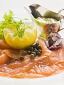Smoked salmon with capers, lemon and mustard & dill sauce