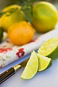 Lime wedges and squeezed lime in front of citrus fruit
