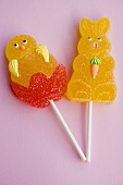 Jelly chick and Easter Bunny on sticks