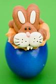 Marzipan Easter Bunny on blue egg