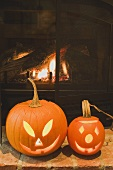 Two pumpkin lanterns for Halloween