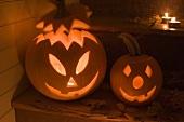Pumpkin lanterns for Halloween on stairs