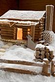 Lebkuchenhaus mit Tierfigur