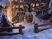 Gingerbread house with gingerbread animals (detail)
