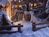 Lebkuchenhaus mit Tierfiguren (Ausschnitt)