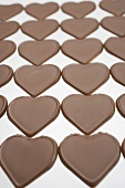 Chocolate hearts in rows