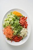 Salad platter: lettuce and raw vegetables