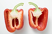 Two red pepper halves (overhead view)
