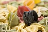 Various types of coloured pasta (full-frame)
