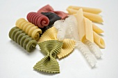 Various types of coloured pasta