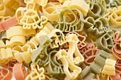 Coloured animal-shaped pasta (full-frame)