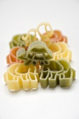 Coloured animal-shaped pasta