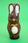 Chocolate Easter Bunny on green background