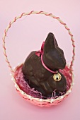 Chocolate Easter Bunny with bow & small bell in Easter basket