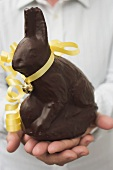 Hands holding chocolate Easter Bunny