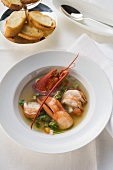 Lobster soup and toasted bread