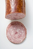 Krakauer (Krakow-style ham sausage) with slices cut