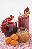 Three different jars of jam