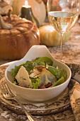 Salad on table laid for Thanksgiving (USA)