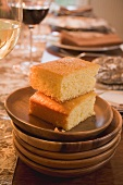 Cornbread on table laid for Thanksgiving (USA)
