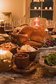 Stuffed turkey with accompaniments for Thanksgiving (USA)