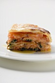 Portion of salmon lasagne