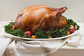 Whole roast turkey with herbs and fruit