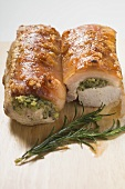 Roast pork with crackling and herb stuffing