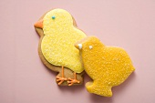 Two Easter biscuits (different yellow chicks)