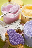 Coloured sugar for decorating Easter biscuits