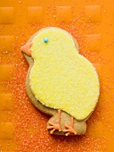 Easter biscuit (yellow chick) on orange background